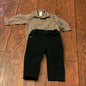 6/9mo plaid shirt and Children's Place black jeans